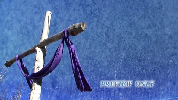 Easter Cross And Purple Cloth Motion