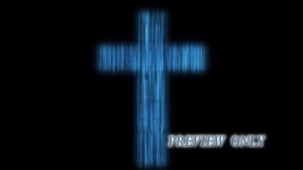 Fractal Cross On Black Backdrop